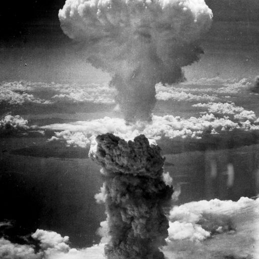 Mushroom cloud after Fat Man exploded over Nagasaki on 9 August 1945